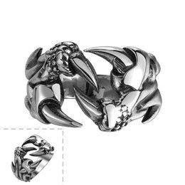 Wholesale Restore Silver Jewelry - Stainless Steel Rings Ambition To Restore Ancient Ways Vintage Gothic Titanium Stainless Steel Rings Fashion Jewelry Steampunk Men's Rings