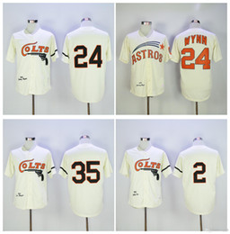 Wholesale Retro Shorts Men - Houston Colts Throwback Baseball Jersey Retro 35 Joe Morgan 2 Nellie Fox 24 Jimmy Wynn Cream Vintage 1964 Turn Back Stitched MLB Jersey