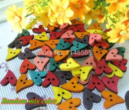 Wholesale Craft Wood Buttons Bulk - New 200 pcs lot Lovely multicolor Heart Shape wooden buttons mix bulk Wood Sewing button botoes Craft Scrapbooking 19mm*17mm M63332