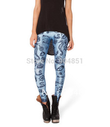 Wholesale Sexy Leggins For Plus - Summer styles Plus size HOT Sexy Fashion 2014 Pirate Leggins Pants Digital Printing NAUTICAL BLUE LEGGINGS For Women