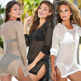 Wholesale White Knit Bikini - 2016 cotton beach cover up swimsuit cover up Crochet Cover Up Women Beach Bikini Cover Ups Knitting Swimsuitp Beach Wear