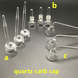 Wholesale Bowl Clear - carb cap dabber for quartz nails dab tool with a,b,c 3 styles clear joint 100% thick quartz bowls honeycomb perc