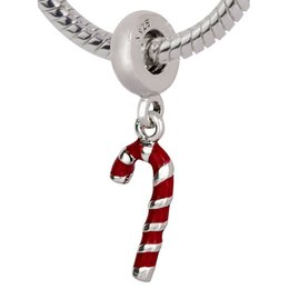Wholesale Candy Charms For Bracelets - 925 Sterling Silver Pendants Candy Cane Charms Christmas Beads For European Bracelets Chain Jewelry Free shipping