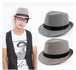 Wholesale Cowboy Hats Ribbon - Unisex Women Men Casual Trendy Beach Sun Straw Panama Jazz Hat Cowboy Fedora Gangster Cap with Black Ribbon 8 Colors