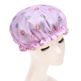Wholesale Hotel Beauty - Wholesale- Plus Size Double Layer Dry Hair Waterproof Shower Caps Beauty Care Accessories Hotel Shower Hat Women Bath Cap