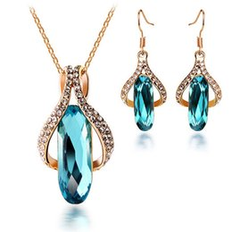 Wholesale Cheap Wedding Jewelry For Brides - Luxury Necklace Earring Set Crystal Long Drop Earrings Fashion Jewelry Sets Cheap Wedding Jewelry for Brides On Sale 2627