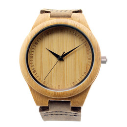 Wholesale Movement Miyota - New arrival japanese miyota 2035 movement wristwatches genuine leather bamboo wooden watches for men and women christmas gifts