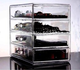 Wholesale Clear Acrylic Drawers - Wholesale-Heavy-duty Clear Acrylic Cosmetic & Makeup Organizer with 4 Drawers & Flip Top for jewelry,cosmetic etc