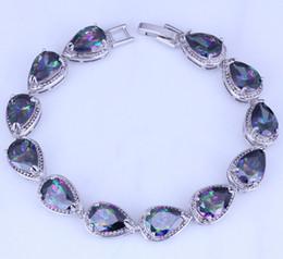 Wholesale Noble Set - Noble Mystic Topaz Water Drop Style Silver Bracelets for Women Chain Length 21 CM Free Gift Bag B0048