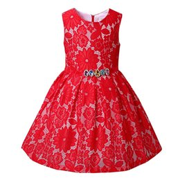 Wholesale Embroidered Rhinestone Gown - New Fashion Girls Fashion Lace Dresses Baby Red Hollow out Clothes With Rhinestone Girls Formal Dresses