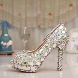 Wholesale Diamond Evening Shoes - Sparkling Colorful Wedding Shoes Peep Toe Diamond Bride Shoes Wedding Banquet Shoes Fashion Evening Party Shoes