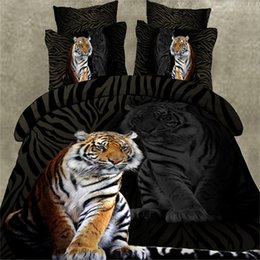 Wholesale Aqua Print Comforter - High quality 3d bedding set tiger printed bedclothes bed set duvet cover flat sheet pillowcase Queen size bed line Home Textiles
