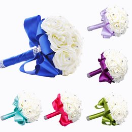 Wholesale Crystal Decoration Green - 2015 New Bridal Bouquet Wedding Decoration Artificial Bridesmaid Flower Crystal Silk Rose Royal Blue White Green Lilac Fuchsia Mint WF001