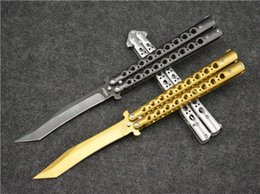 Wholesale Option Points - 3 Options The one Lockheed D-21 Recurve balisong butterfly knife 440C Tanto point Satin FlyTanium survival gear tactical knife knives