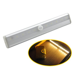 Wholesale Wireless Led Bar Lights - DIY Stick-on Anywhere Portable 10 LED Wireless Motion Sensing Closet Cabinet LED Night Light Stairs Light Step Light Bar with Magnetic Strip