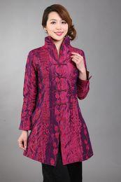 Wholesale Chinese Silk Jackets Women - Wholesale- Hot pink Chinese Women's Silk Satin Embroidery Long Jacket Coat Flowers Size S M L XL XXL XXXL Free Shipping MN 0125