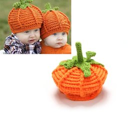 Wholesale Pumpkin Costume Baby - New Arrival Baby Pumpkin Hats Crochet Knitted Baby Kids Photo Props Infant BABY Costume Winter Hats 1pc Free shipping TZX201