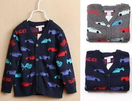 Wholesale Kids V Neck Sweater - cartoon car print boy sweater cardigan knitted kids coat jacket boys new baby boys cardigan jacket free shipping in stock