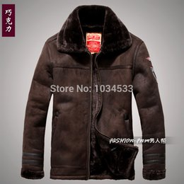 Wholesale Men S Pilot Fur - Fall-New Mens fur Nordic Air Force Pilot Moto leather suded Jacket Coat parka outwear