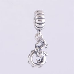 Wholesale Chinese Dragon Plates - CHINESE DRAGON DANGLE CHARM DIY Beads Solid 925 Silver Not Plated Fits Pandora Bracelet&Charms