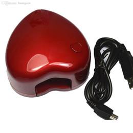 Wholesale Heart Nail Led Uv - Wholesale-3W Pro Red Heart USB Plus or Batteries Nail Art Dryer LED Lamp Electric Manicure Machine Single Finger UV Gel Polish NC042