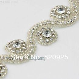 "Wholesale S Shaped Headbands - Wholesale-1 Yard Clear Rhinestone ""S"" Shape Applique Trim On Flower Bridal Costume Beaded Sash Headband Wedding Bridesmaid"