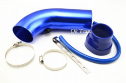 Wholesale Cold Air Intake Systems - Short Cold Air Intake Pipe Hose + Cone Filter Kit System Universal Blue Air Intakes filter 43mm