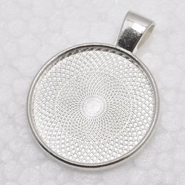 Wholesale Silver Plated Pendant Trays - 1 inch Round Shiny Silver Plated Pendant Trays, Blank Pendant Bases, 25mm Bezel Pendant Settings for Glass or Stickers