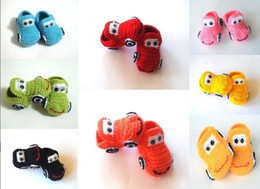 Wholesale Knitted Baby Booties Wholesale - bBaby crochet shoes baby boys 4 colors cars booties infant handmade first walker shoes kids knit childrengift