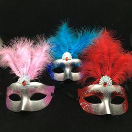 Na venda pena máscara de mão desenho metade do rosto veneziano masquerade máscara do partido sexy mulher máscara mix cor frete grátis de