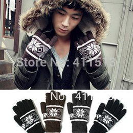 Wholesale Korean Wool Gloves - Wholesale-2015 Fashion Wool Korean Double Thick Knitted Winter Lovely and Warm Snowflake Men Gloves Mitten 5 Colors