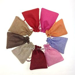 Wholesale Burlap Wholesale - 10*14cm Linen Fabric Drawstring bags Candy Jewelry Gift Pouches package bags Burlap Gift bags Jute bags mobile power sack bags