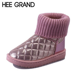 Wholesale Flats Fur Inside - Wholesale- HEE GRAND Lattice Winter Snow Boots 2016 Fur Inside Women Ankle Boots Platform Shoes Woman Warm Slip On Women Flat Shoes XWX4969