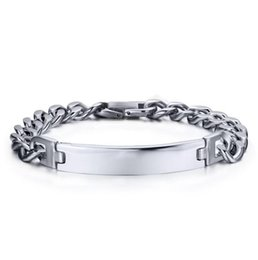 Wholesale High Polished Silver Link Bracelet - stainless steel silver high polished charm bracelet for men diy charm bracelet jewelry with link chain wholesale