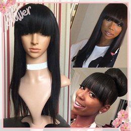 Wholesale Human Hair Bangs Sale - 100% Virgin Peruvian Straight Human Hair Full Lace Wigs With Full Bangs 7A Unprocessed Glueless Lace Front Wigs For Black Women On Sale