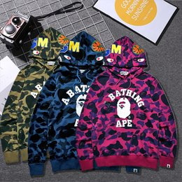 Wholesale Air Force Pullover - 2017 Men hoodies WGM Embroidery Shark MA1 Flight Male Baseball Service US Air Force Pilot Jacket ape