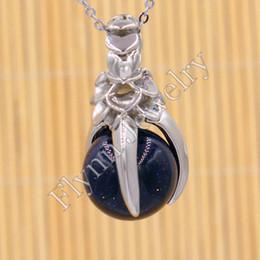 Wholesale Eagle Talons - Lapis Lazuli Natural Stone Ball Bead Silver Plated Eagle Claw Hawk Falcon Talons Reiki Pendulum Pendant Charms Amulet Fashion Jewelry 10pcs