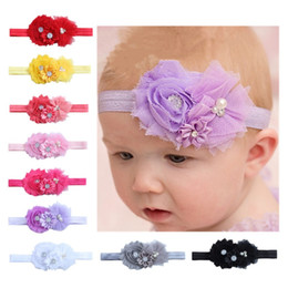 Wholesale Bud Diamond - Fashion Combined Flower Headbands For Infant Baby Photography Props Hair Band With Diamond Buds Cape Flowers Headwrap 1 55ml B