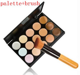 Wholesale 15 Concealer Camouflage Makeup Palette - 100pcs lot Professional Cosmetic Salon Party 15 Colors Camouflage Palette Face Cream Makeup Concealer Palette Make up Set Tools With Brush