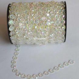 Rollo de cuentas de cristal online-2014 nueva moda 30 m diy iridiscente guirnalda diamante acrílico perlas de cristal filamento para navidad decoración de la boda un rollo