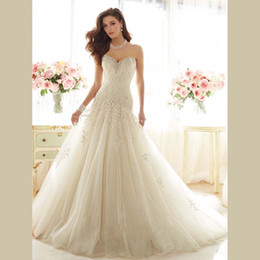 Wholesale Dropped Waist Wedding Dress Tulle - Newest Design Dropped Waist Long Train Handmade High Quality Sweetheart Tulle Appliques Wedding Dresses 2016 Vestido De Novia