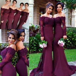 Wholesale Mermaid Style Prom Wedding Dress - Newest Off the Shoulder Long Sleeves Bridesmaid Dresses Mermaid Style Lace Appliques Maid of Honor Prom Gowns Long Wedding Guest Dresses