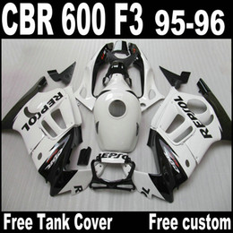 1996 honda cbr body kit on-line-Branco REPSOL ABS Kit de carenagem para Honda CBR 600 F3 carenagem de carroceria 95 96 CBR600 F3 1995 1996 CBR 600