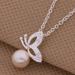 Wholesale Butterfly Pearl 925 - Free Shipping with tracking number Best Most Hot sell Women's Delicate Gift Jewelry 925 Silver Pearl Butterfly Necklace