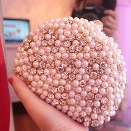 Wholesale Cheap Purses Handbags Sale - 2015 New Golden Silver Women's Fashion Lady Crystal Pearls Evening Bags Bridal Clutch Purse Party Handbag Wedding Party Bag Cheap Hot Sale