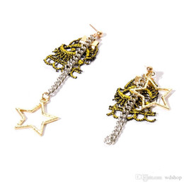 Wholesale Hot Stamp Plate - Hot Stamping Lace Stud Earrings Fashion Statement Jewelry Geometric Star Long Earring For Women Dangle Drop Earrings Wholesale