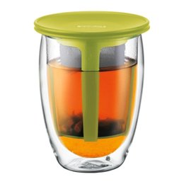 Wholesale Bodum Espresso - Free shipping Bodum TEA FOR ONE Glass, double wall tea glass mug with tea strainer, 0.35 l, 12 oz ,glass Espresso cup