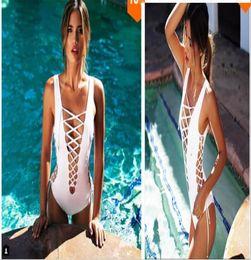 Wholesale Conjoined Bikini - New Triangle sexy cross strappy Hollow siamese bikinis set conjoined monokini swimwear women beach swimsuit bathing suit