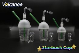 Wholesale Glass Cups For Cupping - Starbucks Glass Cup With Free Quartz Banger 10mm 14mm 18mm Male Oil Rigs For Glass Bongs Glass Water Filtra