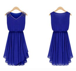 Wholesale Hot Womens Images - Chiffon Dress Summer Dress Chiffon Dress Hot Womens Summer Elegant Set Auger and Pure Color Condole Belt Dress Fashion Womens V Neck and W
